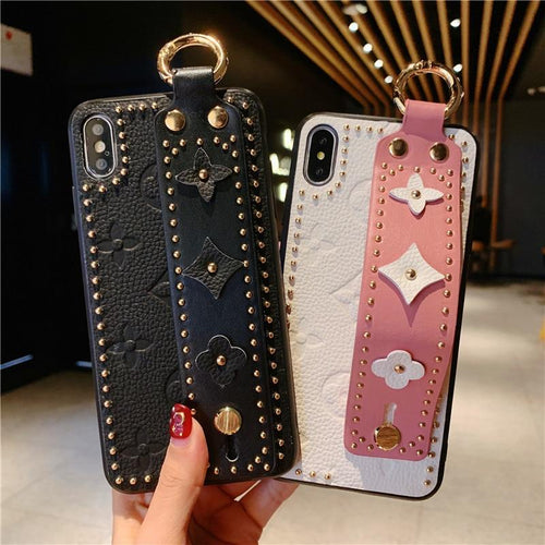 Louis Vuitton LV Style Paris Leather Kickstand Ring Holder Designer iPhone Case With Hand Strap Wristband For iPhone X XS XS Max XR 7 8 Plus - Casememe.com