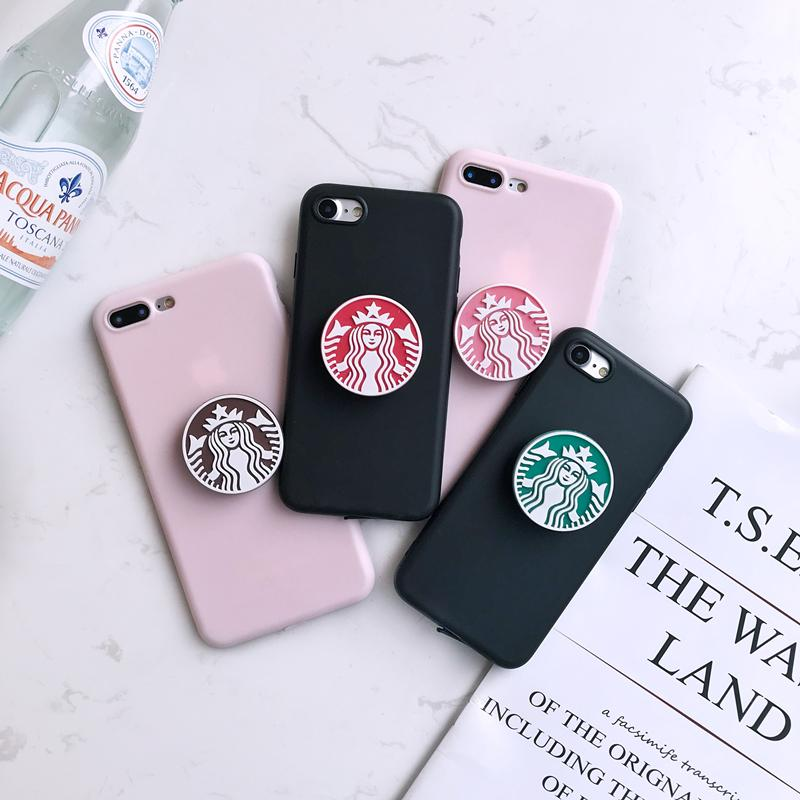 brand new 36779 27d61 Starbucks Style 3D Pop Socket Coffee Kickstand Soft Silicone Designer  iPhone Case For iPhone X XS XS Max XR 7 8 Plus