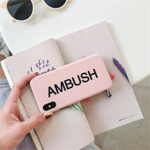 Load image into Gallery viewer, AMBUSH Style Street Fashion Matte Soft Silicone TPU Luxury Designer iPhone Case For iPhone X 7 8 Plus - Casememe.com