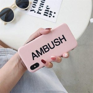 AMBUSH Style Street Fashion Matte Soft Silicone TPU Luxury Designer iPhone Case For iPhone X 7 8 Plus - Casememe.com