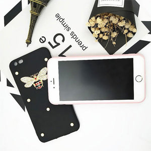 Luxury GC Style Bee Pearl Glitter Soft Silicone Designer iPhone Case For iPhone X XS XR XS Max - Casememe.com