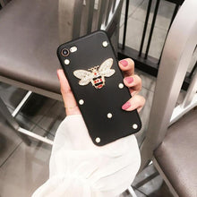 Load image into Gallery viewer, Luxury GC Style Bee Pearl Glitter Soft Silicone Designer iPhone Case For iPhone X XS XR XS Max - Casememe.com