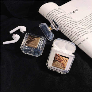 COCO Chanel Style Luxury Perfume Bottle AirPods Protective Shockproof Silicone TPU Case Cover For Apple Airpods 1 & 2 - Casememe.com