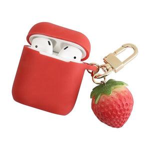 Cute 3D Strawberry Red Silicone Protective Shockproof Case For Apple Airpods 1 & 2 - Casememe.com