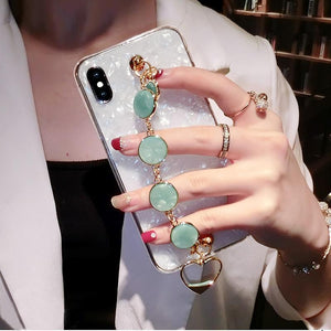 Luxury Shiny Pearl Shiny Glitter Jewel Hand Strap Wristband Silicone Designer iPhone Case For iPhone X XS XR XS Max - Casememe.com