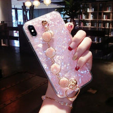 Load image into Gallery viewer, Luxury Shiny Pearl Shiny Glitter Jewel Hand Strap Wristband Silicone Designer iPhone Case For iPhone X XS XR XS Max - Casememe.com