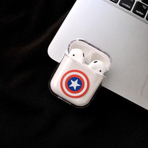 Superhero Marvel Style Ironman Spiderman Clear Hard Protective Shockproof Case For Apple Airpods 1 & 2