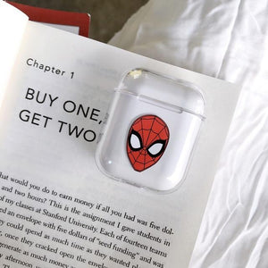 Superhero Marvel Style Ironman Spiderman Clear Hard Protective Shockproof Case For Apple Airpods 1 & 2 - Casememe.com
