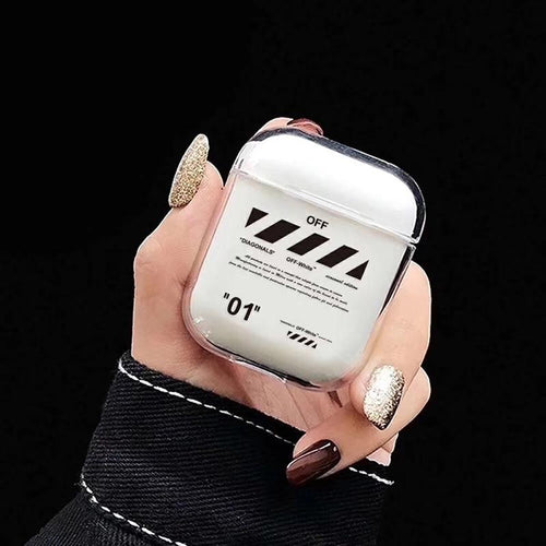 OFF White Style Street Fashion Trendy Clear Hard Protective Shockproof Case For Apple Airpods 1 & 2