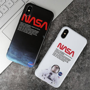 Luxury NASA USA Trendy Astronaut America Space Matte Silicone Designer iPhone Case For iPhone SE 11 PRO MAX X XS XS Max XR - Casememe.com