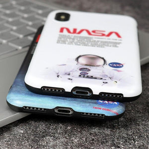 Luxury NASA USA Trendy Astronaut America Space Matte Silicone Designer iPhone Case For iPhone X XS XS Max XR - Casememe.com
