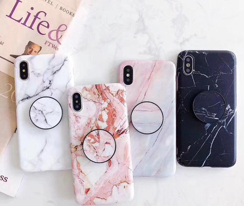Fancy Marble Matte Silicone Bumper Designer iPhone Case With Pop Socket Case For iPhone SE 11 PRO MAX X / XS / XS Max / XR - Casememe