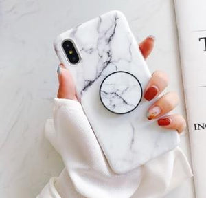 Fancy Marble Matte Silicone Bumper Designer iPhone Case With Pop Socket Case For iPhone X / XS / XS Max / XR - Casememe.com