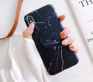 huge discount 463c2 c1b83 Fancy Marble Matte Silicone Bumper Designer iPhone Case With Pop Socket  Case For iPhone X / XS / XS Max / XR