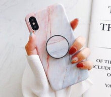 Load image into Gallery viewer, Fancy Marble Matte Silicone Bumper Designer iPhone Case With Pop Socket Case For iPhone SE 11 PRO MAX X / XS / XS Max / XR - Casememe.com
