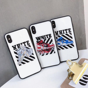 Blue Ray Off White Air Jordan AJ1 Blue Light Glass iPhone Case For iPhone X / XS / XS Max / XR - Casememe.com
