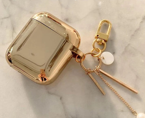 Metallic Gold Plating Hard Protective Shockproof Case For Apple AirPods 1 & 2 - Casememe.com