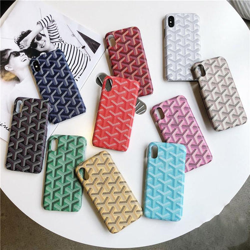 Luxury Goyard Style Leather Shockproof Protective Designer  iPhone Case For iPhone X XS XS Max XR - Casememe.com