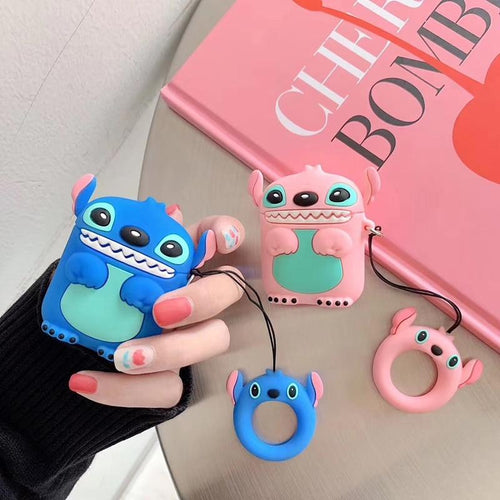 Stitch Cute Blue Pink Silicone Protective Shockproof Case For Apple Airpods 1 & 2 - Casememe