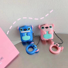 Load image into Gallery viewer, Stitch Cute Blue Pink Silicone Protective Shockproof Case For Apple Airpods 1 & 2 - Casememe.com