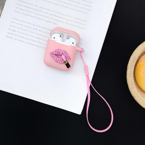 Glitter Sexy Lip Heart Silicone Protective Shockproof Case For Apple Airpods 1 & 2 - Casememe.com