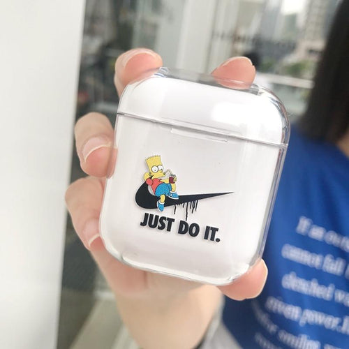 Nike x Simpsons Style Vans Clear Transparent Hard Protective Shockproof Case For Apple Airpods 1 & 2