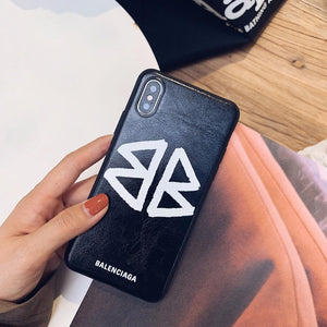 Balenciaga Style Fashion Genuine Leather Shockproof Protective Designer iPhone Case For iPhone 12 SE 11 Pro Max X XS Max XR 7 8 Plus - Casememe.com
