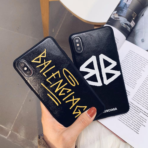 Balenciaga Style Fashion Genuine Leather Designer iPhone Case For iPhone X XS XS Max XR 7 8 Plus - Casememe.com