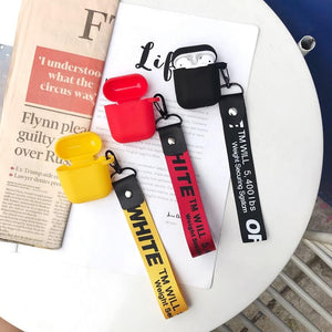 Off White OW Street Fashion Trendy Lanyard Silicone Protective Shockproof Case For Apple Airpods 1 & 2 - Casememe.com