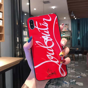 Christian Louboutin Style Tempered Glass Designer iPhone Case For iPhone 12 SE 11 Pro Max 11 Pro 11 X XS Max XR 7 8 Plus - Casememe.com