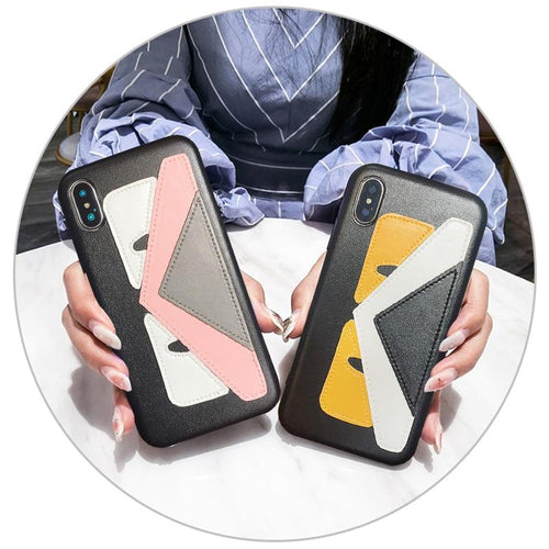 Fendi Style Devil Eye Soft Leather Luxury Designer iPhone Case For iPhone SE 11 PRO MAX X XS XS Max XR 7 8 Plus - Casememe.com