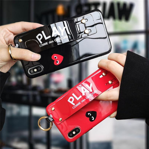 Glossy PLAY Comme Des Garcons Style Soft Leather Designer iPhone Case With Wristband Bracelet Strap For iPhone X XS XS Max XR - Casememe.com