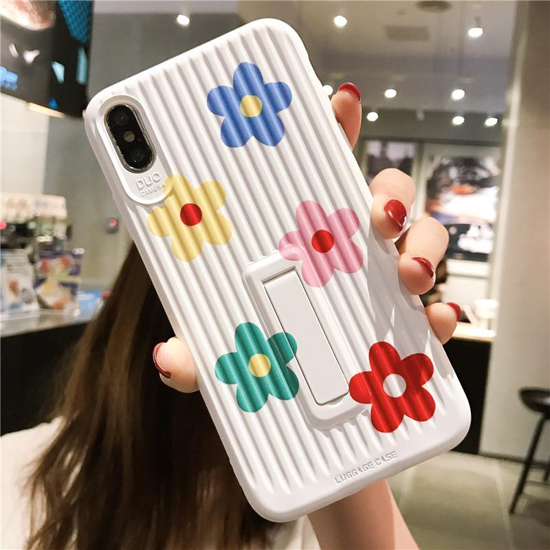 Floral Kickstand Silicone Shockproof Protective Designer iPhone Case For iPhone SE 11 Pro Max X XS Max XR 7 8 Plus - Casememe.com