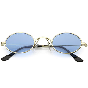 Small Oval Color Tone Metal Sunglasses
