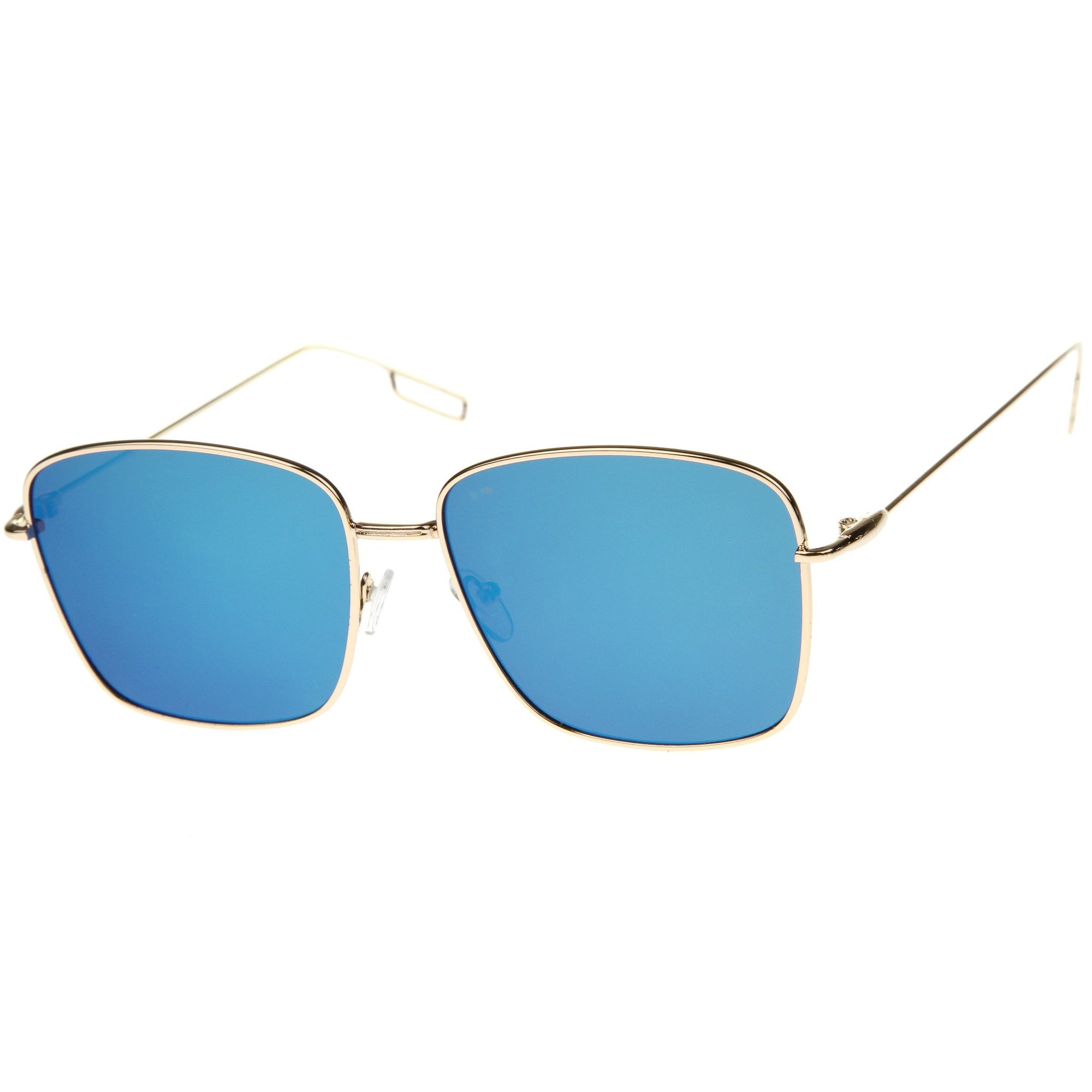 Wire Metal Flat Lens Square Aviator Sunglasses
