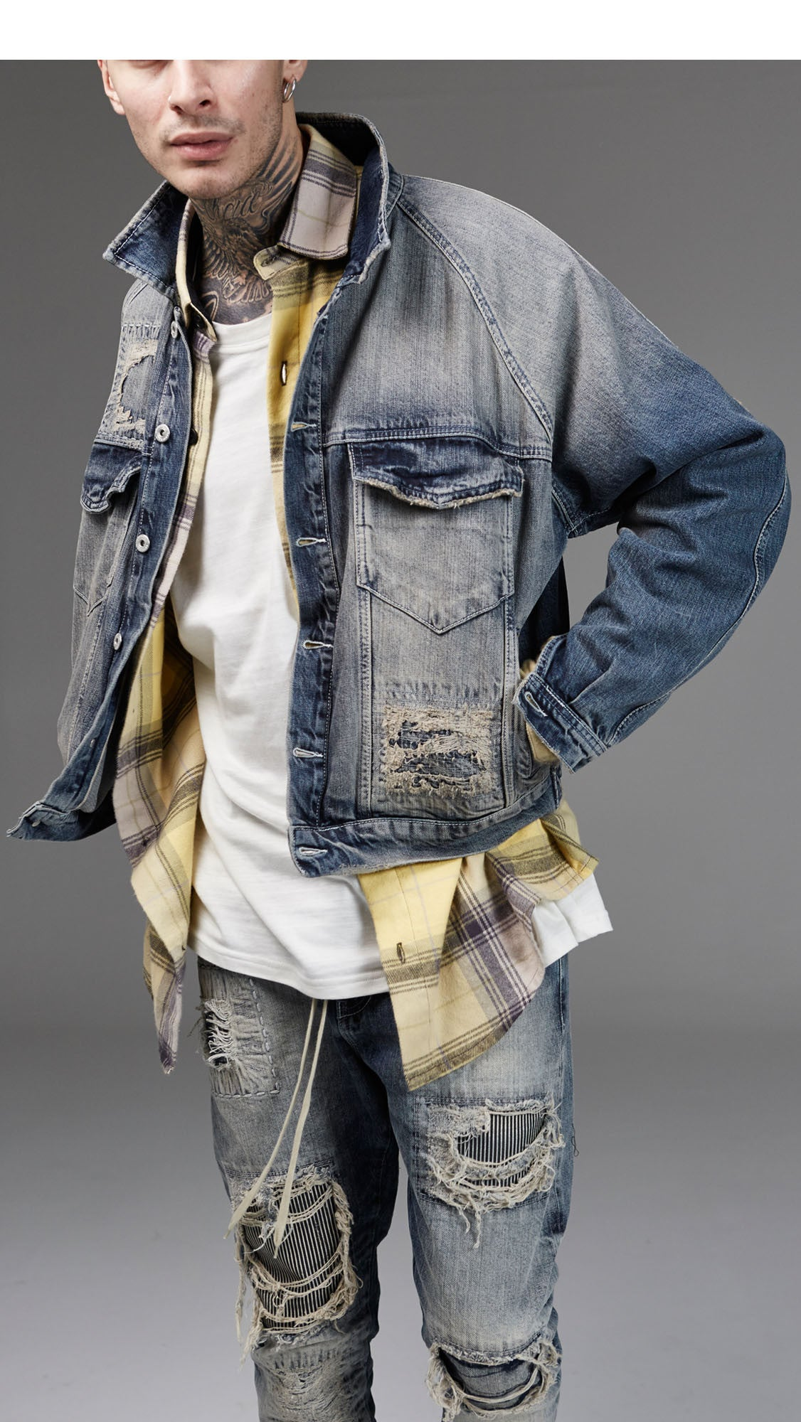 Patchwork Selvedge Denim Jacket - Random Blue