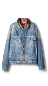 Sherpa Denim Jacket - Sand Blue