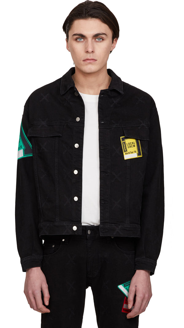 Patch Denim Jacket - Black