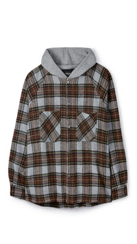 Hooded Flannel - Brown Check