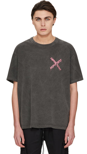 Destroyed Logo T-Shirt - Granite/Pink