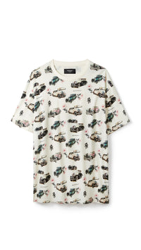 Vintage Car All Over T-Shirt - Vintage White