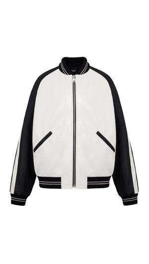 Leather Bomber - White/Black