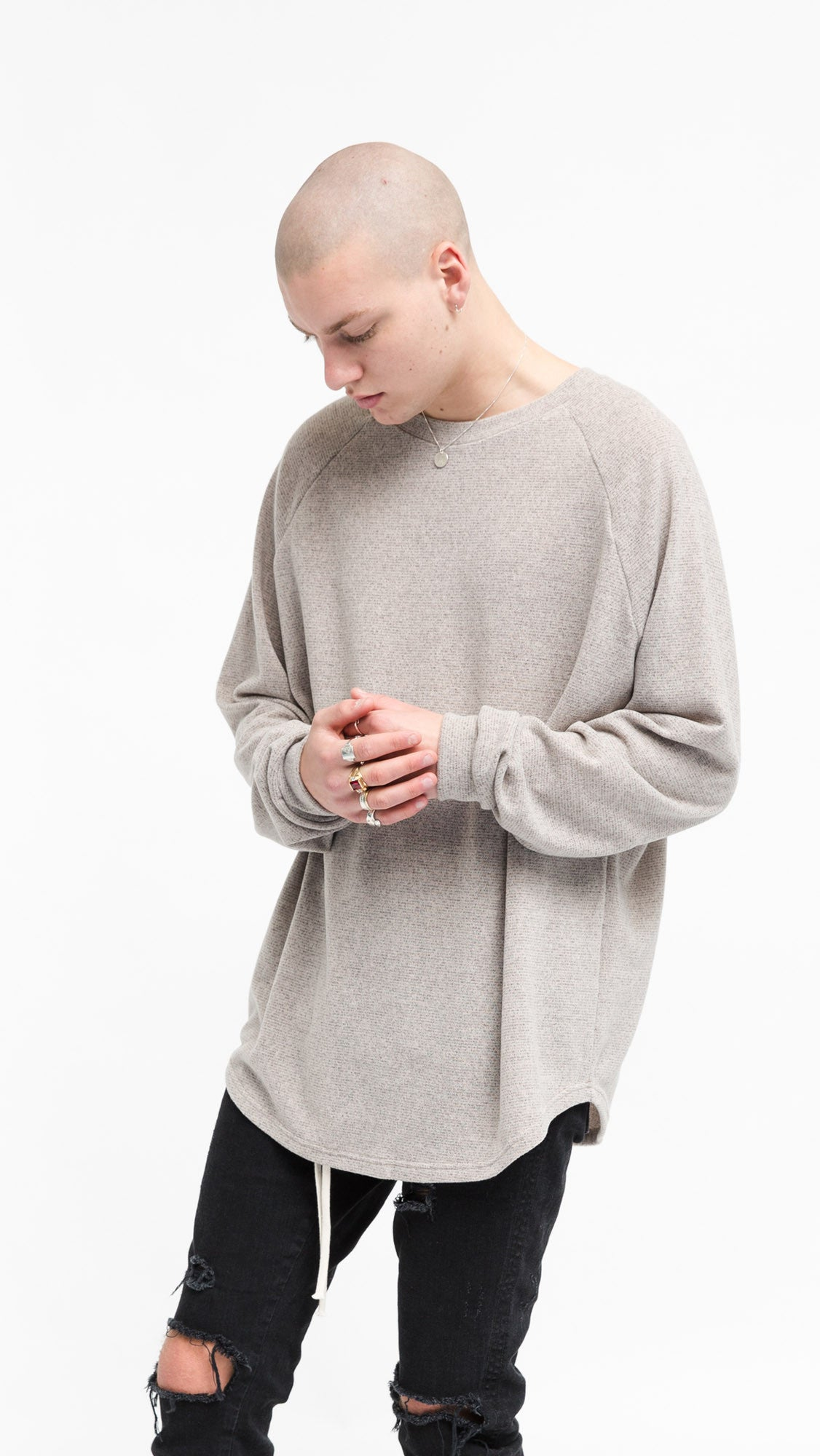 Long Sleeve Scallop T-shirt - Bone