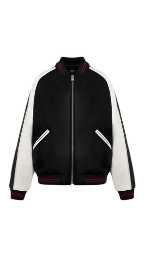 Leather Bomber - Black/Red
