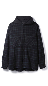Hooded Flannel Jacket - Midnight Blue