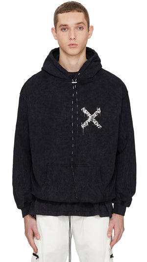 Destroyed Logo Hoodie - Snow-washed Black