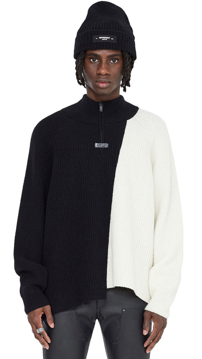 Half Zip Sweater - Black/Off White