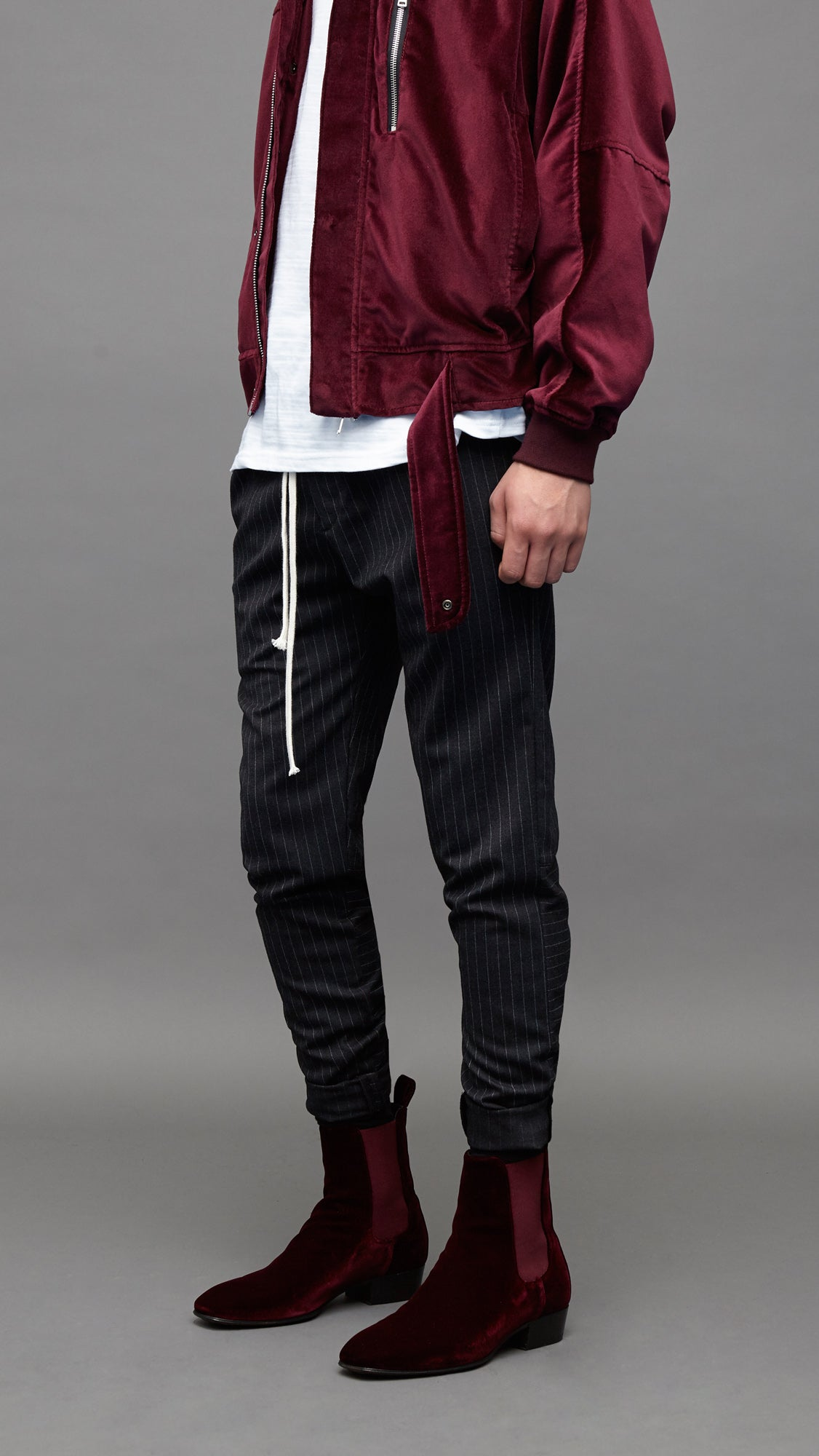Smoking  Pants - Charcoal Pinstripe