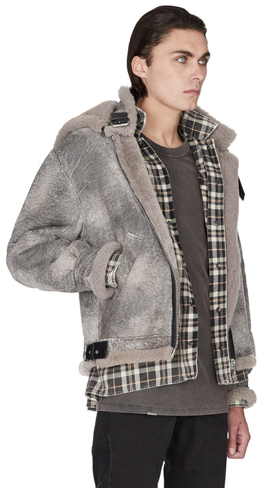 Cracked Shearling Jacket - Marble