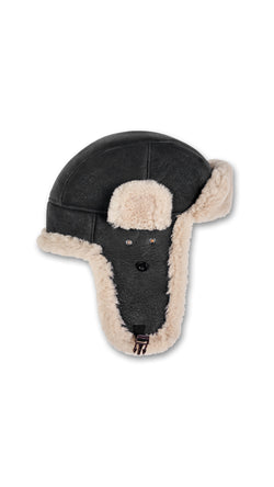 Trapper Hat - Black/Beige